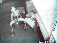 Slut in skirt masturbates on security camera tubes