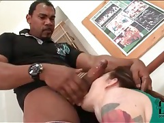 Sporty tattooed girl sucks his big black cock tubes