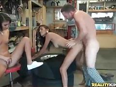 Mechanic fucks skinny sluts in garage threesome tubes