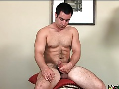 Hairy guy slowly strokes his dick in latin porn tubes