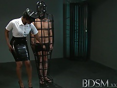 Bdsm xxx caged slave boy gets hardcore treatment from his powerful and horny mistress tubes