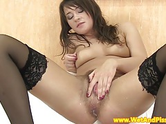 Hairy pee fetish babe toying her ass tubes
