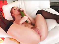 Rita faltoyano has food sex in stockings tubes