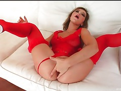 Slutty red lingerie on this anal fingering girl tubes