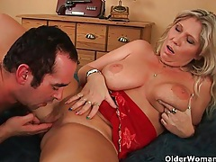 Big mature tits get a cum glazing tubes