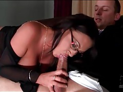 Sexy glasses on curvy girl sucking hard dick tubes