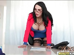 Office slut with giant fake tits gives a blowjob tubes