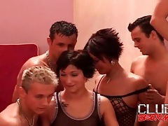 Young bisexual guys and girls in foreplay orgy tubes