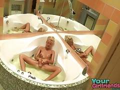 Skinny blonde teen fucks a dildo in bathtub tubes