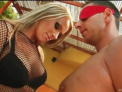 Sexy mistress in lingerie releases her sub guys tubes