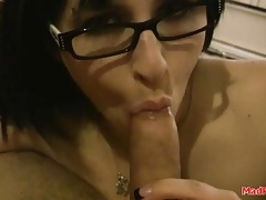 Pierced lips girl in glasses gives a sexy blowjob tubes