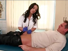 Nurse gives a glove handjob and sucks dick tubes