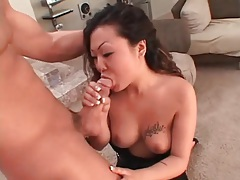 Asian deepthroats cock in her black lingerie set tubes