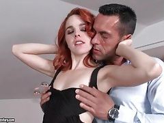 Redhead in little black dress makes out with him tubes