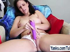Horny brunette sasha toying her pussy tubes
