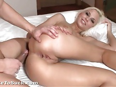 Cute blonde gets an anal creampie on top tubes