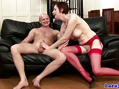 English mature in red stockings fucked tubes