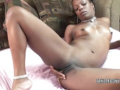 Ebony hottie anastasia is finger banging her twat tubes