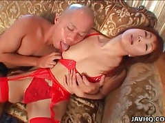 Red latex lingerie and stockings on sexy girl tubes