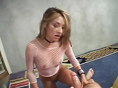 Cocksucking asian in fishnet top rides his dick tubes