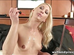 Bleach blonde with sexy small tits pees tubes