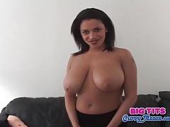 Sexy black sweater on huge boobs ebony model tubes