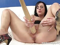 Thin baseball bat in the cunt of tattooed girl tubes