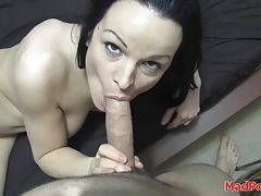 Lean body brunette with great tits sucks on dick tubes