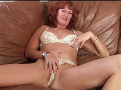 Cute redhead milf strips from her sexy dress tubes