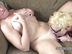 Mature slut liisa gets fucked by horny lesbian shelly tubes