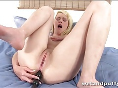Anal dildo into lubed asshole of blonde girl tubes