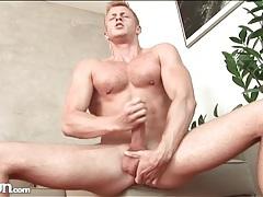 Muscular solo guy masturbates big cock sensually tubes