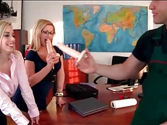 Office babes in skirts suck on big dildos tubes