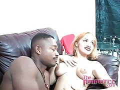 Blonde in sexy bra and panties blows a black guy tubes