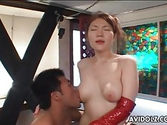 Doggystyle sex with japanese girl in fishnets tubes