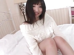 Beautiful white sweater on masturbating brunette tubes