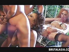 Raunchy asian cutie porked in a 4some tubes