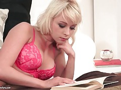 Hot pink lingerie on solo masturbating blonde tubes