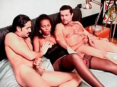 Black girl masturbates her holes with a toy tubes