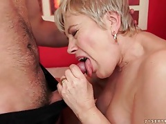 Granny cocksucker swallows young dick tubes