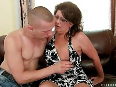 Mature in glasses sucks young dick tubes
