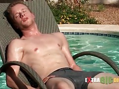Cute guy swims and masturbates his cock tubes