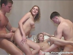 Two cumshots fly in a foursome porn video tubes