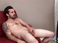Masturbation and cumshot on a glass table tubes