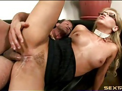 Sexy glasses on a naughty whore banging tubes