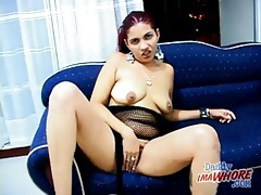 Latina whore in fishnet lingerie sucks cock tubes