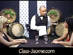 Two horny nymphos seduce and devour the sommelier tubes