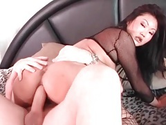 Asian hottie in fishnet stockings fucked in the ass tubes