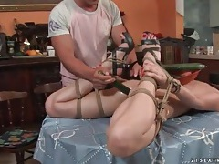 Cute girl tied up and ass fucked by veggies tubes