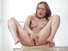 Fit skinny chick finger fucks her wet pussy tubes